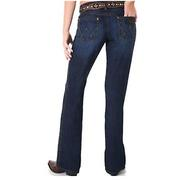 Wrangler Premium Patch Women's Mae Dark Wash Above Hip Rise Boot Cut Jean