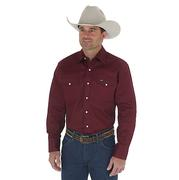 Wrangler Mens Red Oxide Cowboy Cut Long Sleeve Work Shirt