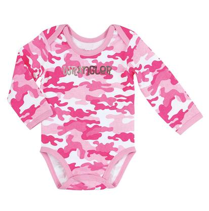 Wrangler Girls' Long Sleeve Bodysuit In Printed Pink Camo