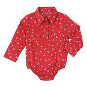 Wrangler Red Long Sleeve Bodysuit