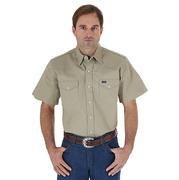 Wrangler Mens Khaki Twill Short Sleeve Western Work Shirt