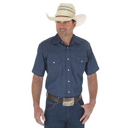 Wrangler Mens Denim Cowboy Cut Short Sleeve Western Shirt