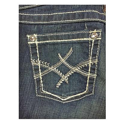 Ariat Womens Dark Wash Mid Rise Wide Leg Trouser Jean