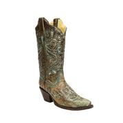 Corral Women's Bronze w/Turquoise Glitter Inlay Cowgirl Boots