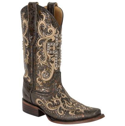 Corral Women's Black & Silver Studded Cross Boots