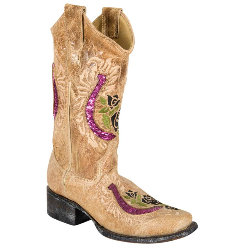 Corral Womens Square Toe Antique Saddle With Violet Horse Shoe Inlay Boots