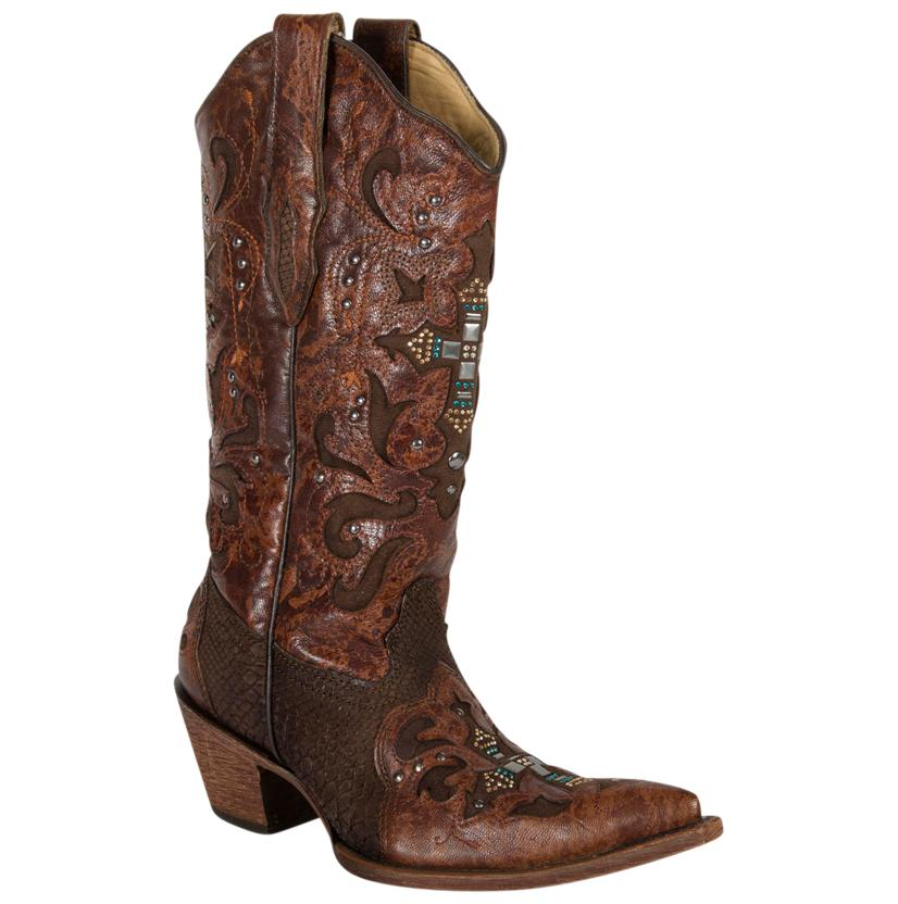 Corral Womens Crystal Cross Brown Python Boots
