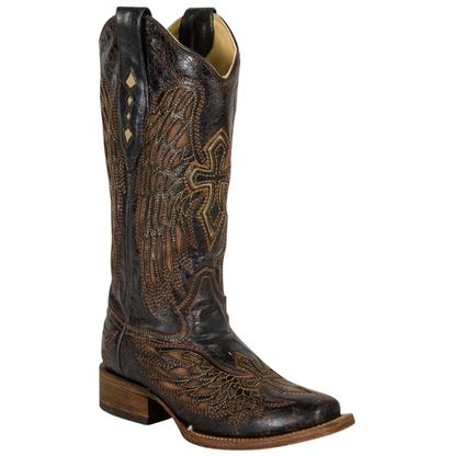 Corral Women's Square Toe Brown Bone Wing & Cross Boots