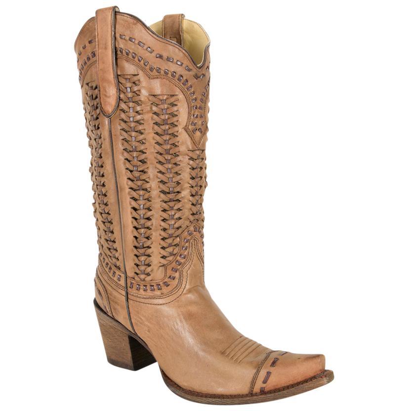 Corral Womens Braided Tan Snip Toe Boots