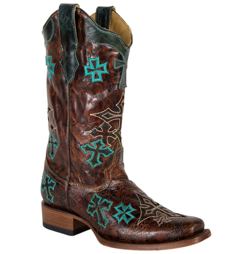 Corral Women's Whiskey Turquoise 3 Cross Square Toe Boots