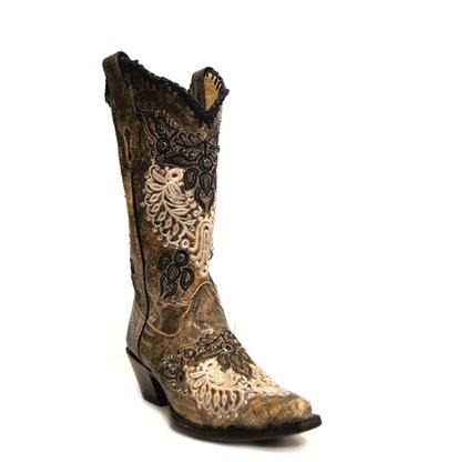 Corral Mocha & Bone Antique Wings Cowgirl Boots