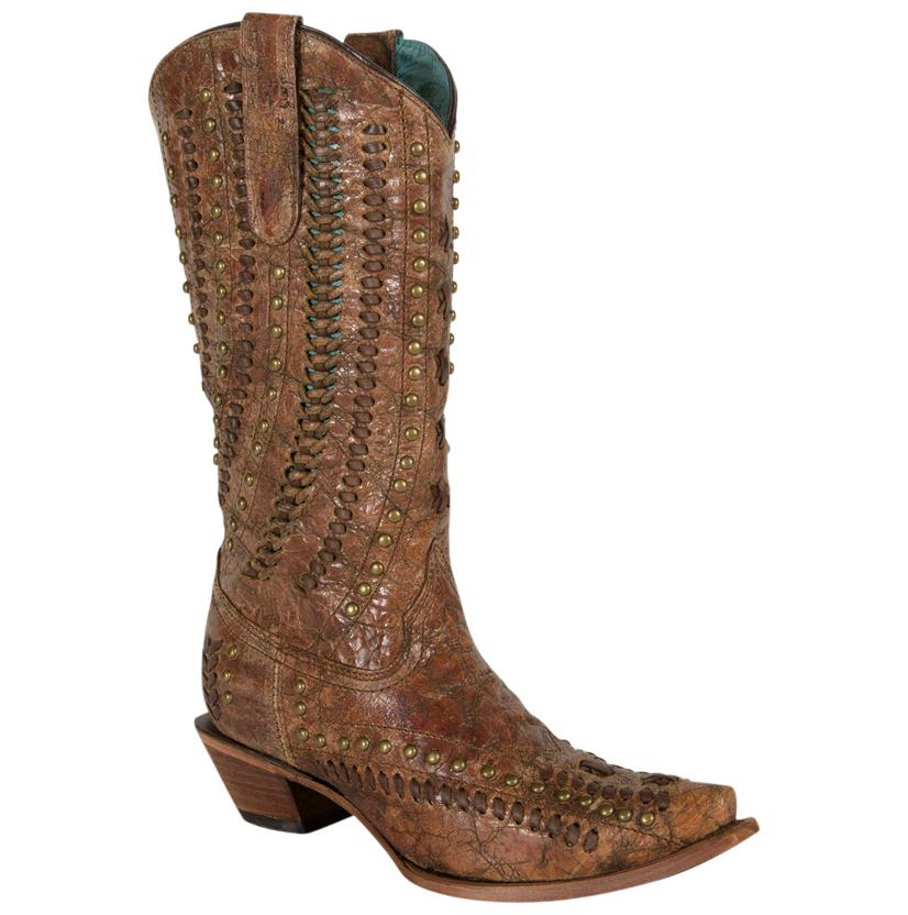 Cognac Brown Stud and Woven Women's Boots