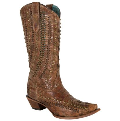 Corral Cognac Brown Stud and Woven Women's Boots
