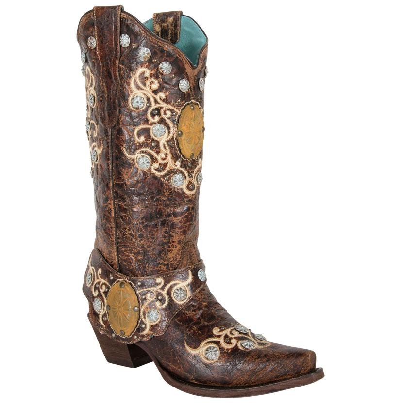 Corral Concho And Side Harness Brown Ladies Boots