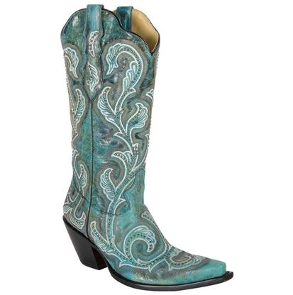 Corral Womens Embroidered Snip Toe Boot Turquoise/Cowhide