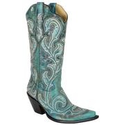 Corral Women's Embroidered Snip Toe Boot Turquoise/Cowhide