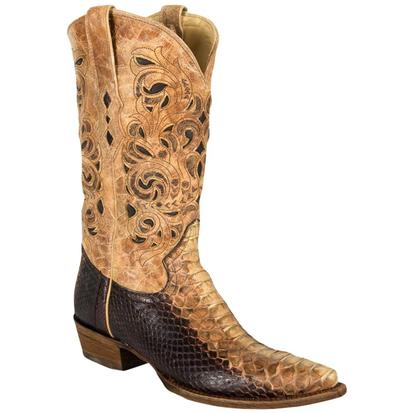 Corral Mens Brown Beige Python Laser Top Boots