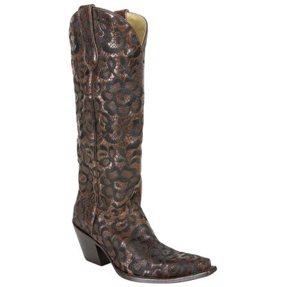 Corral Women's Black & Brown Floral Lace Boots