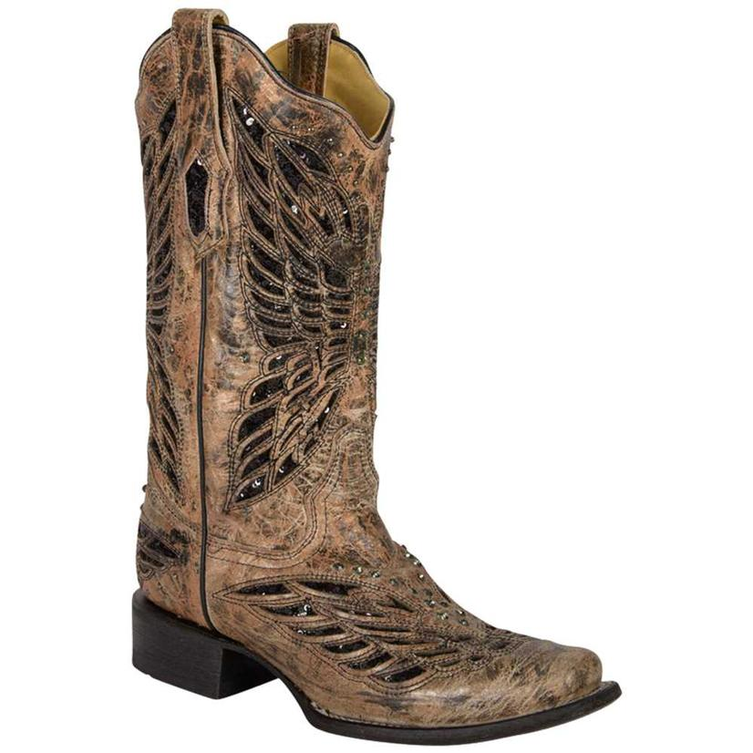 Corral Womens Bronze With Black Sequins Butterfly Cowgirl Boots