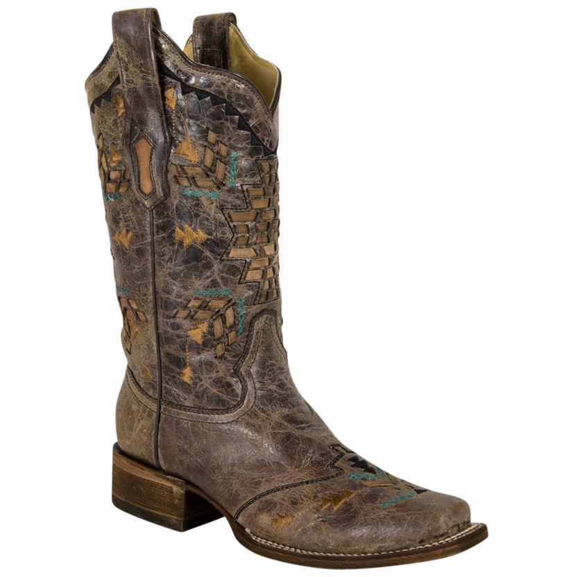 Corral Womens Cango Tobacco Laser Woven Square Toe Boot