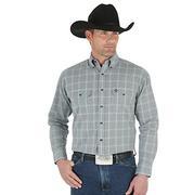 Wrangler Mens Western Long Sleeve Logo Rodeo Shirt