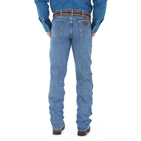 Wrangler Mens Premium Performance Cowboy Cut Regular Fit Denim Jeans - Stonewashed
