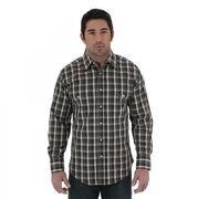 Wrangler Mens Wrinkle Resist Long Sleeve Poplin Plaid Shirt