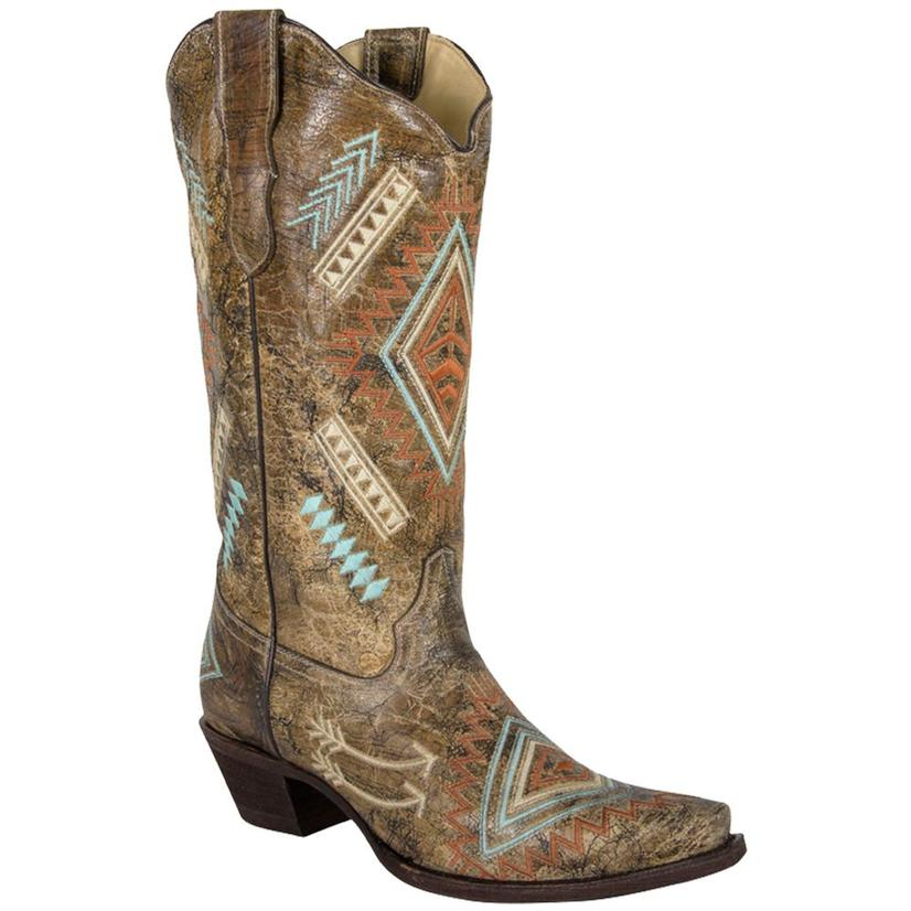 Corral Womens Diamond Embroidered Aztec Cowgirl Boots - Snip Toe
