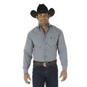 Wrangler Men's George Strait Gray/Black Plaid Long Sleeve Shirt