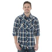 Wrangler Mens Navy, Blue, and White Plaid Long Sleeve Snap Shirt