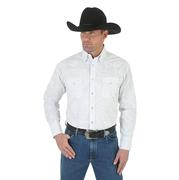 George Strait by Wrangler Mens White Overprint Long Sleeve Western Shirt