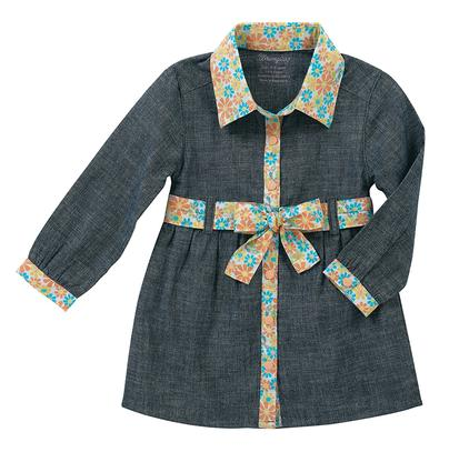 Wrangler Girls Toddler Long Sleeve Dress Blue Chambray Floral