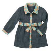 Wrangler Girl's Toddler Long Sleeve Dress Blue Chambray Floral