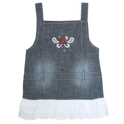 Wrangler Girls Baby Denim Blue Jean Ruffle Lace Western Tank Dress