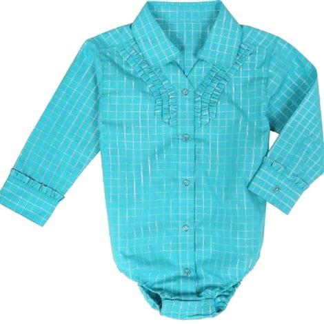 Wrangler Baby Girls' Long Sleeve Turquoise Bodysuit