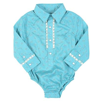Wrangler Infant Girls Paisley Teal Onesies