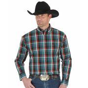 Wrangler Men's George Strait Emerald, Black, Red, and Navy Plaid Western Shirt