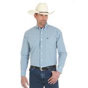 Wrangler Mens George Strait Blue Green White Plaid Long Sleeve Shirt