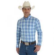 Wrangler Mens George Strait Blue Plaid Shirt