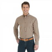 Wrangler Men's Advanced Comfort Khaki And Orange Plaid Sport Shirt