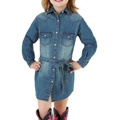 Wrangler Girls Long Sleeve Denim Dress