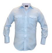 Wrangler Mens Blue Print Western Dress Shirt