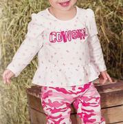 Wrangler Infant Girls' Long Sleeve Cowgirl Peplum Top