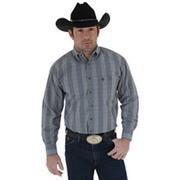 Wrangler Mens George Strait Long Sleeve Buttondown Collar Plaid Shirt