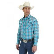 Wrangler Mens Logo Spread Collar Long Sleeve Plaid Shirt