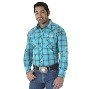 Wrangler Mens Embroidery Turquoise Plaid Western Snap Shirt
