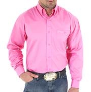 Wrangler Mens Tough Enough To Wear Pink Long Sleeve Western Shirt