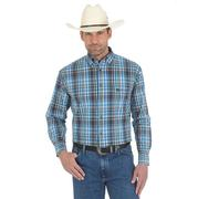 Wrangler Mens George Strait Blue and Coral Plaid Western Shirt