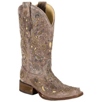 Corral Womens Yellow Crater Inlay & Studded Western Boots