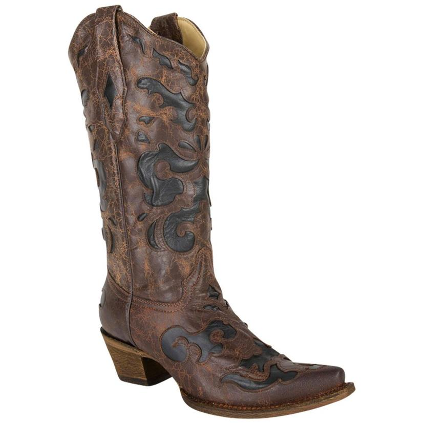 Corral Women's Vintage Chocolate Brown w/ Black Inlays Cowgirl Boots